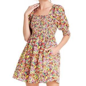 RIXO x Target Floral Puff Sleeve Smocked Dress M